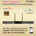 8866 (#5) Android 4 K HD Casa HDD Máquina de Karaoke Player Con Chino E Inglés Canciones Nube Nube, 2x WIFI, Aire KTV, Bulid En Mic Echo