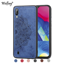 For Samsung Galaxy M10 Shockproof Soft TPU Cloth Texture Hard Back Phone Case Cover Shell
