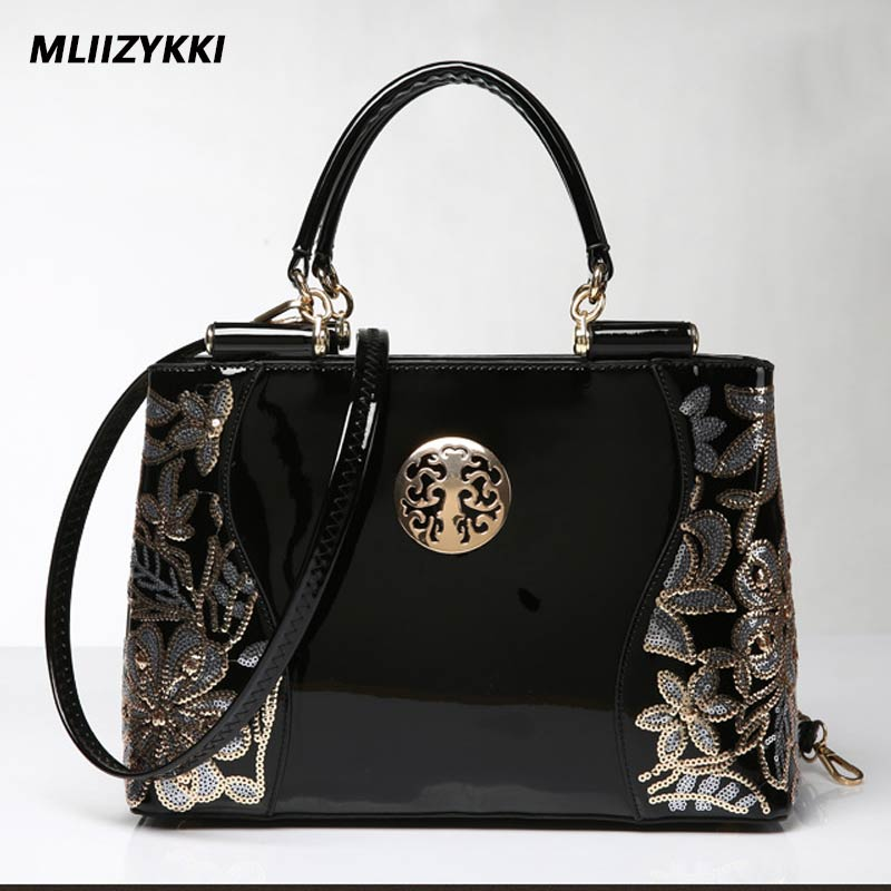 MLIIZYKKI Luxury Patent Leather Tote Bag Handbags Women Famous Brands Lady's Lacquered Bag Red Handbag for Women Shoulder Bag patent leather handbag shoulder bag for women page 1