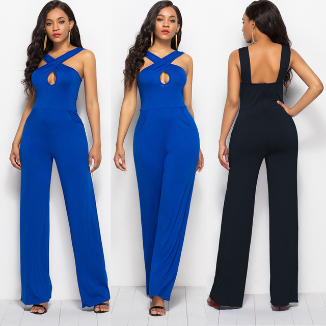 6fe1c30e80a2 Plus Size Summer Women Jumpsuits Wide Leg Bandage Sleeveless Overalls Solid  Office Ladies Business Rompers Women Jumpsuits 2018