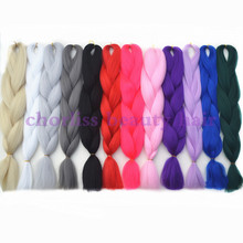 Pure Solid Color Kanekalon Jumbo Crochet Hair Synthetic Ombre Braiding Hair Mambo Twist 24″ Senegal Twist Braids Box Braid Hair