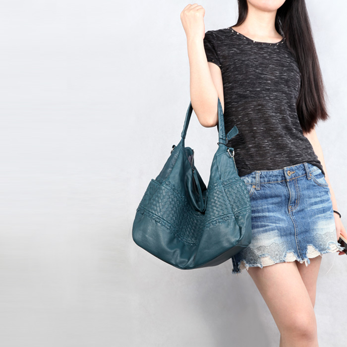 EUMOAN Pure leather Europe and the United States Japan South Korea fashion handmade retro weaving single shoulder