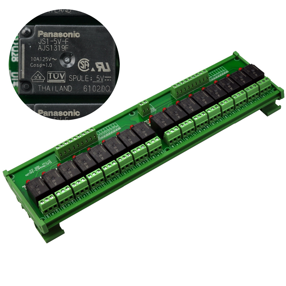 Electronics-Salon DIN Rail Mount 16 SPDT 10Amp Power Relay Interface Module, DC 5V Version.