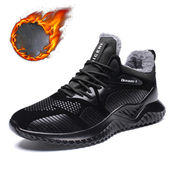 New Men Shoes Winter With Plush Warm Ankle Boots Fashion Wear-resisting Rubber Sole Casual Boots Big Size 39-46 Male Sneakers