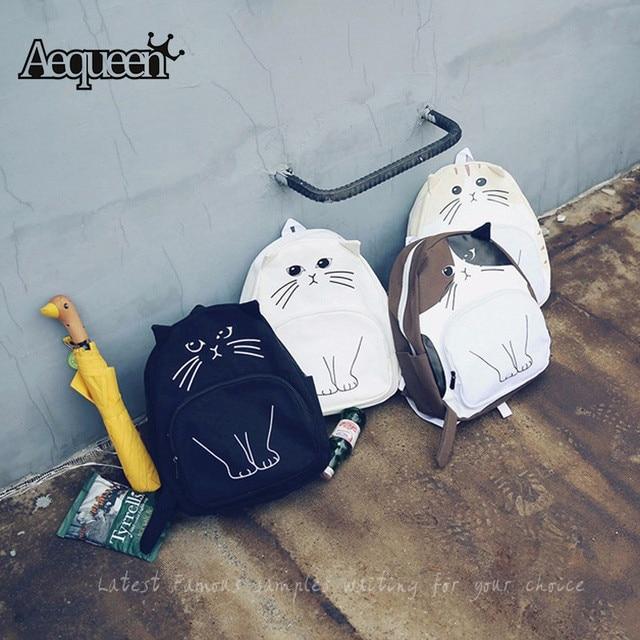 New School Bags For Teenagers Girls Cute Cat Oxford Printing Backpack Women Mochila Feminina Casual Bag School Backpack