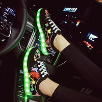 Size35 44 Colourful Usb Charging Baby Shoes Luminous Sneakers LED Slippers Light Up Girl Shoes Infant