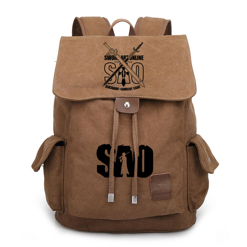 Anime Sword Art Online Canvas Backpack For Teenage Boys Girls School Bags SAO Drawstring Bags Vintage Travel Bag