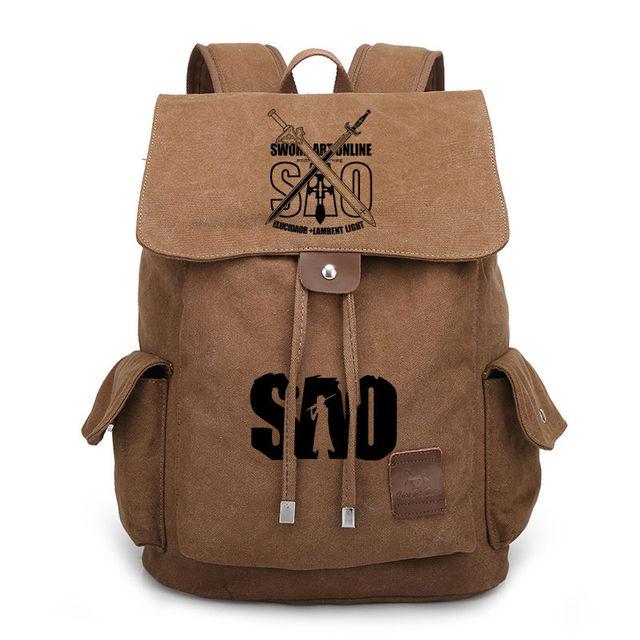 Anime Sword Art Online Canvas Backpack for Teenage Boys Girls School Bags  SAO Drawstring Bags Women Men Vintage Travel Bag 29fb85899