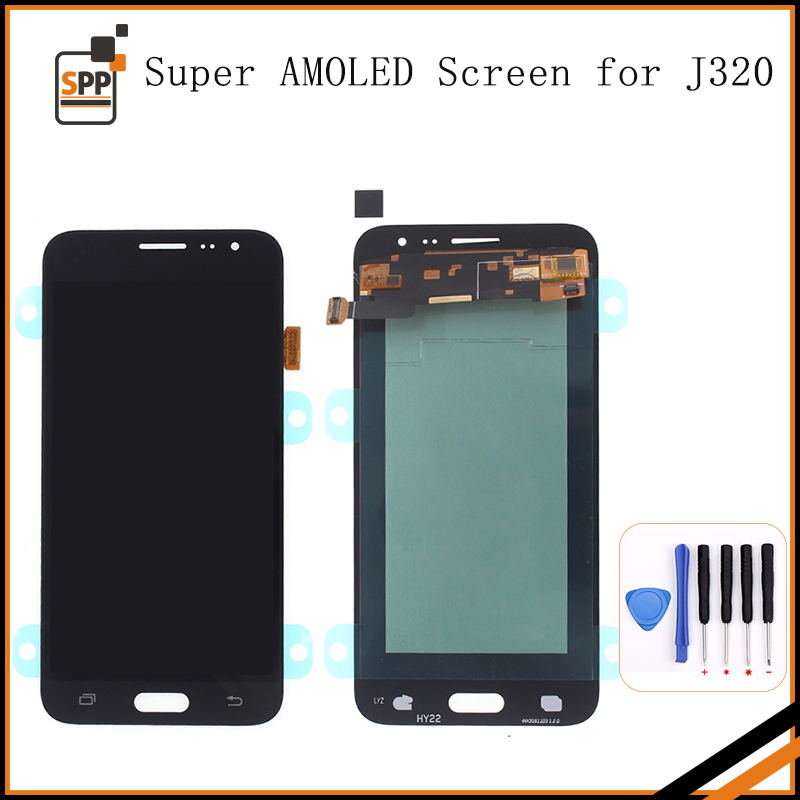 Adjust Bright AMOLED Screen for Samsung Galaxy J3 2016 J320 LCD Display Touch Digitizer Assembly SM-J320FN J320H/DS J320M J320F