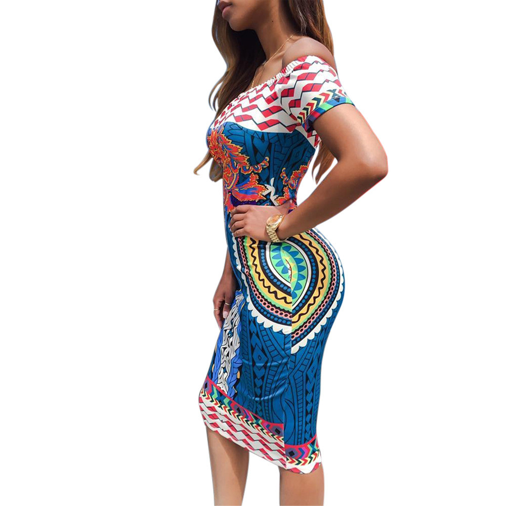 3640feab3eb3 Scolour 2018 Summer Fashion Women Vestidoes Sexy Elegant Party Off Shoulder  Traditional African Print Dashiki Short Sleeve