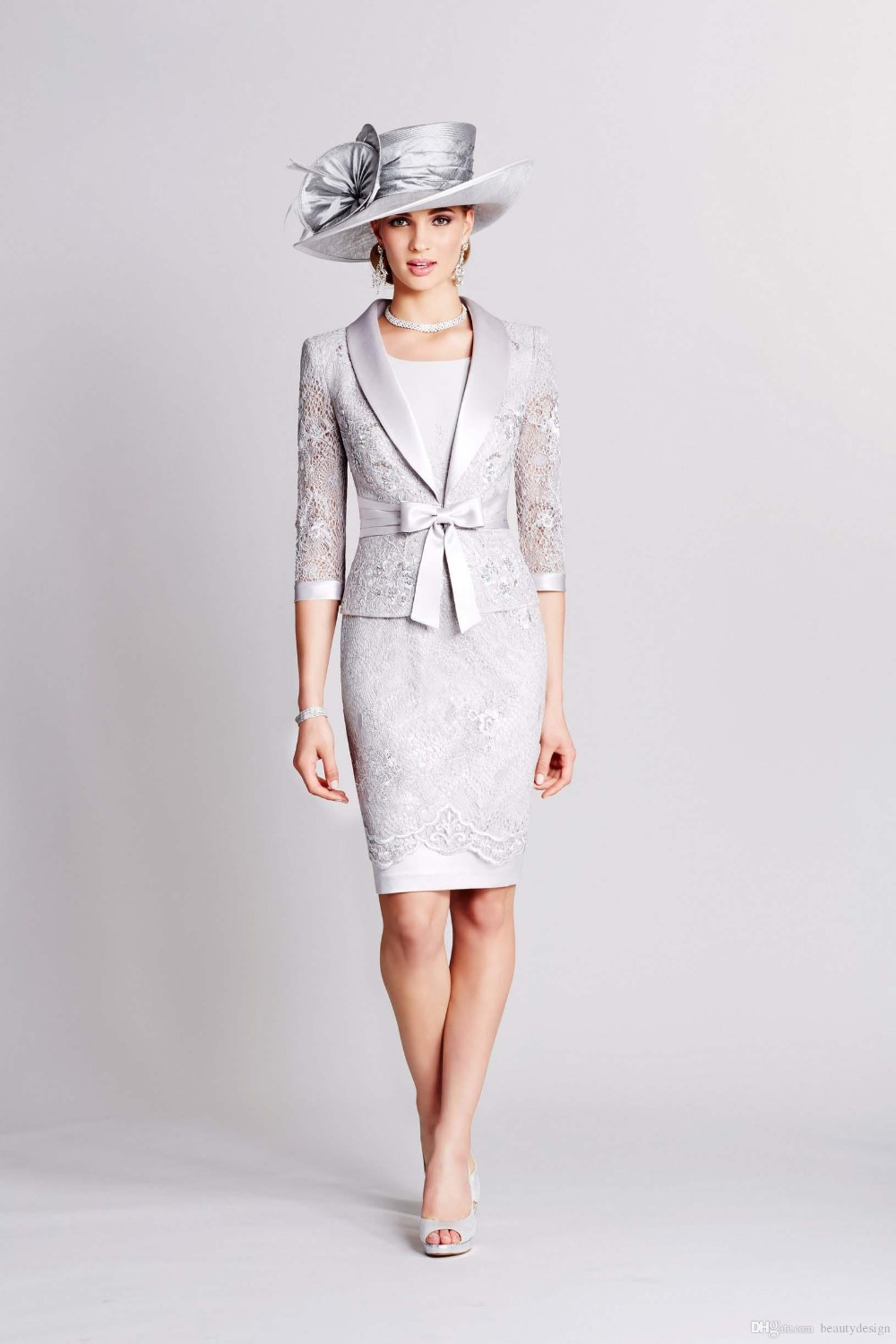 sheath 2015 short wedding mother of the bride dress suits with long sleeve jacket suit lace