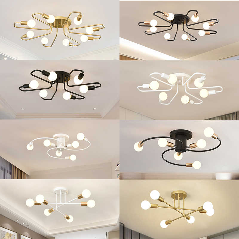 free led bulbs 85-265V E27 Chander Lights Vintag LED Chandeliers Industrial bulbs 6  Lights Chandelier Fixture White