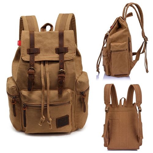 ФОТО 2017 Vintage Men's Canvas Backpack Rucksack Bag Big Doule Shoulder Bags Brand Travel  Bags Mochila Adjustable