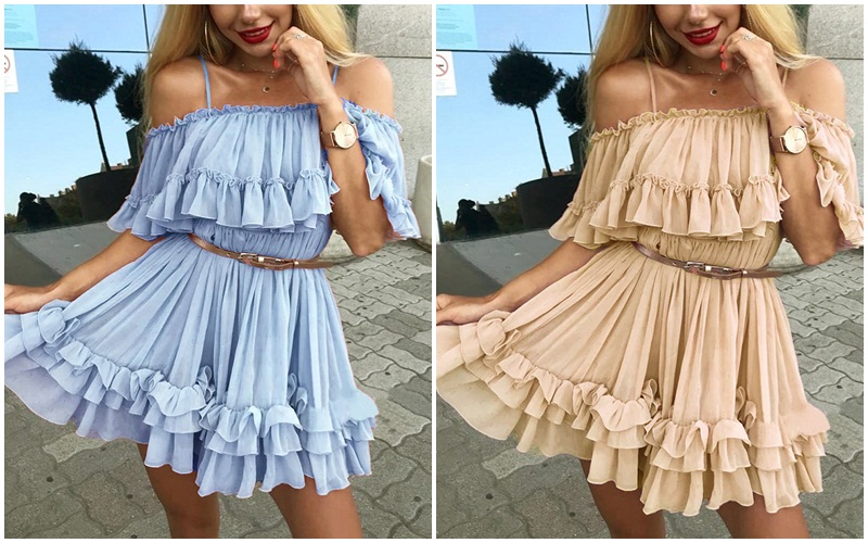 HTB1OYECM9zqK1RjSZPxq6A4tVXaR - BeAvant Off shoulder strap chiffon summer dresses Women ruffle pleated short dress pink Elegant holiday loose beach mini dress