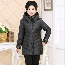 2016 Autumn Clothes New product Winter Jacket Winter Middle-aged Women Big yards Hooded Medium long Eiderdown Cotton Coat G1626