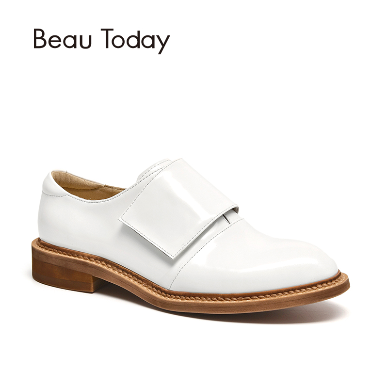 BeauToday Women Monk Shoes Genuine Cow Leather Round Toe Hook and Loop Design High Quality Ladies Shoes Handmade 24034 35