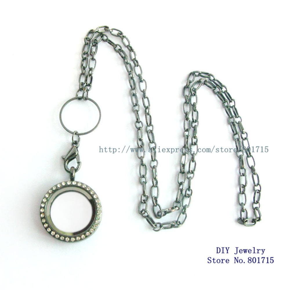 25mm Glass Copy Stainless steel sparkling Round Pendant Living Floating Memory Locket necklace chain about 60cm Other part 3cm