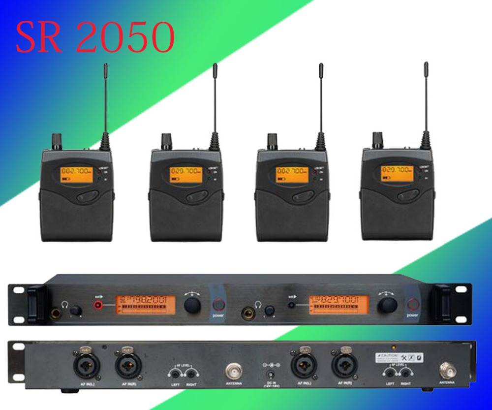 4 Pack Receivers + Wireless In Ear Monitor System, Professional Dual Channels Transmitter SR 2050 IEM 6 pack receivers wireless in ear monitor system professional dual channels transmitter sr 2050 iem