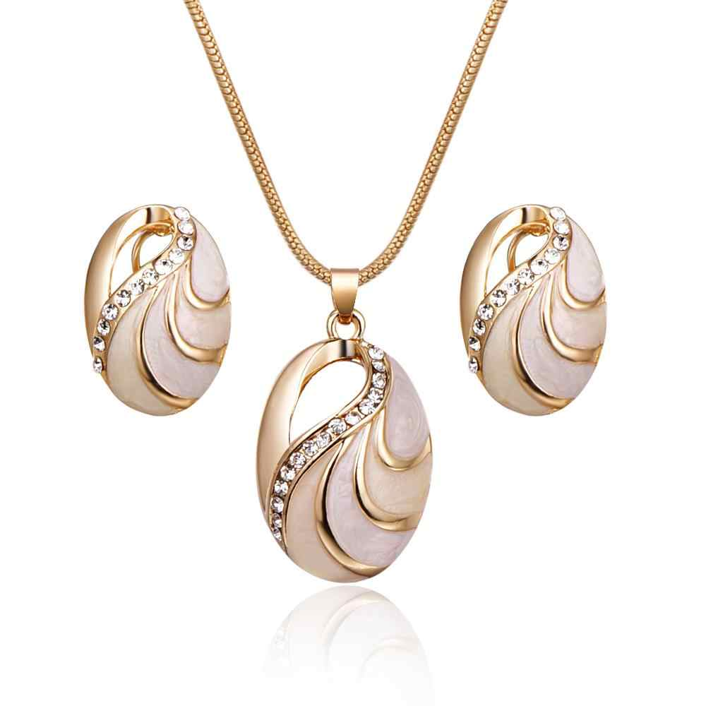 Shiny Trendy Jewelry Rhinestone Oval Hollow Pendant Gold Color Necklace Earring For Women Wedding Party
