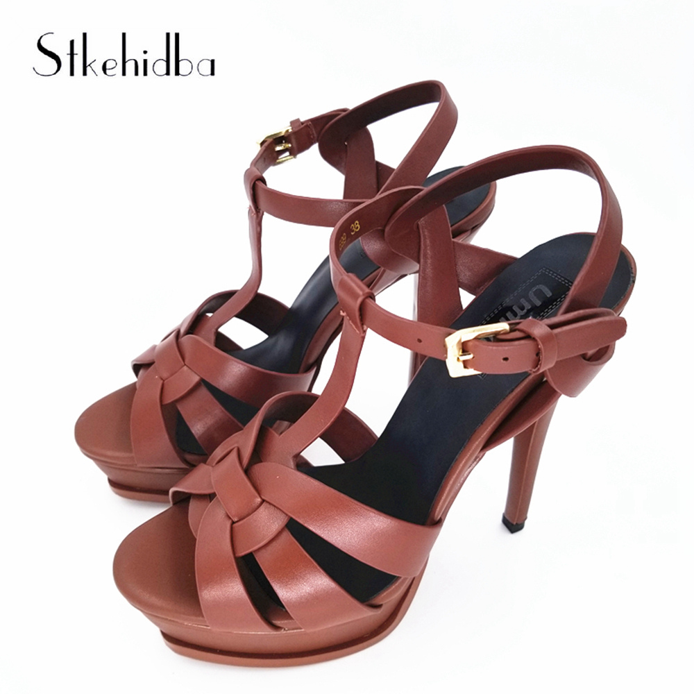 Stkehidba Fashion Platform Pumps Top Genuine Leather Summer Shoes Sexy Party High Heels Shoes 14CM Heels