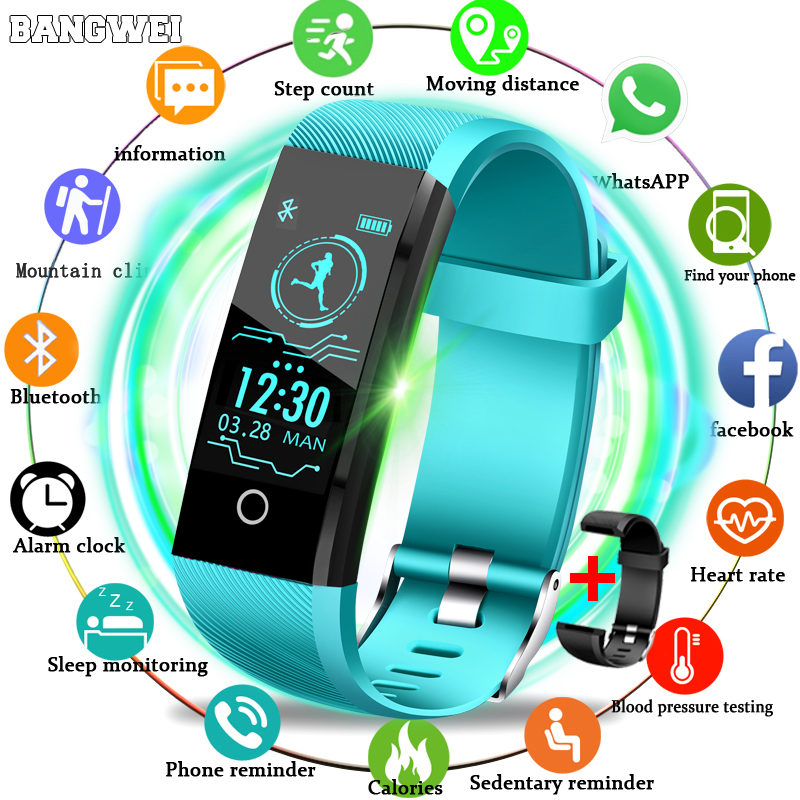 BANGWEI 2019 New Smart Wristband Heart Rate Tracker Blood Pressure Oxygen Fitness Wrisband IP68 Waterproof Smart Watch Men Women