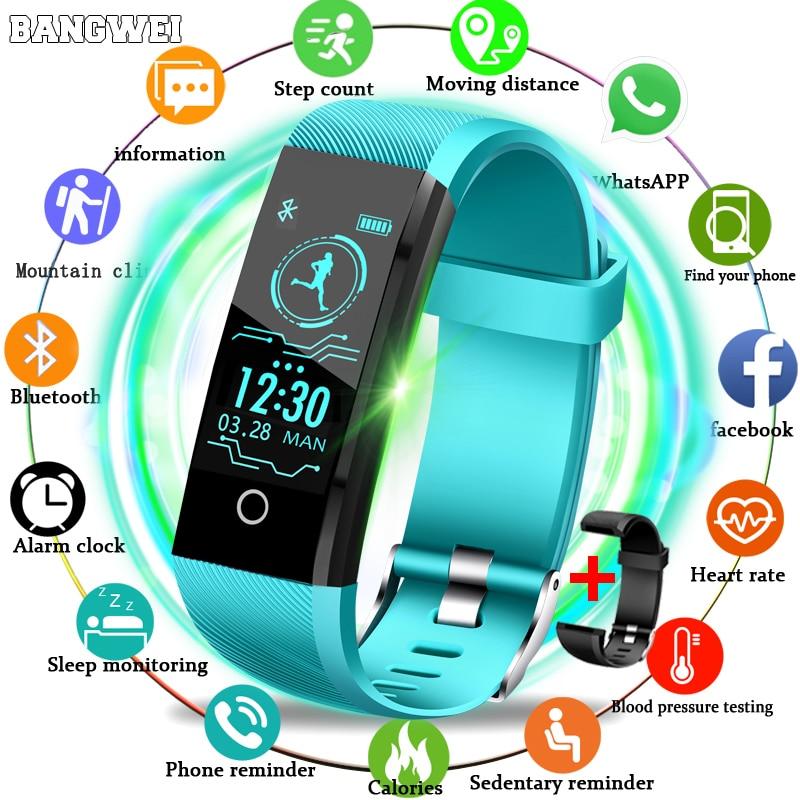 BANGWEI 2019 New Smart Wristband Heart Rate Tracker Blood Pressure Oxygen Fitness Wrisband IP68 Waterproof Smart Watch Men Women