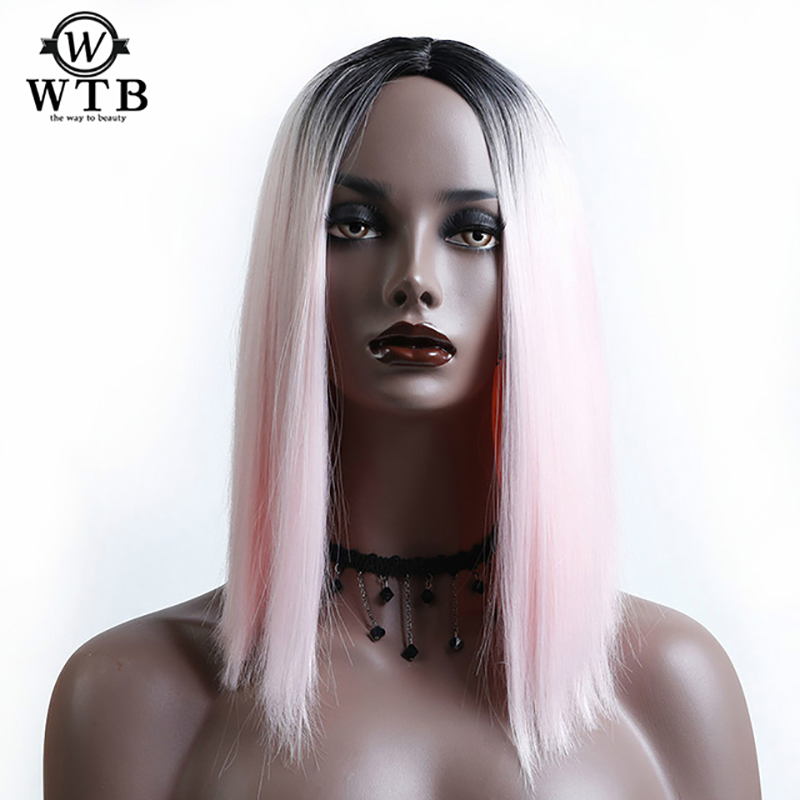 WTB Short Straight Wigs High  Striaght Bob Wigs for Women Heat Resistant Synthetic Party Hair Cosplay Costume Party Wig