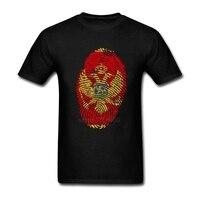 Blue Mens Shirt Cotton Hombre Montenegro Flag Fingerprint Short Sleeve Tee Shirts Men S Custom Made