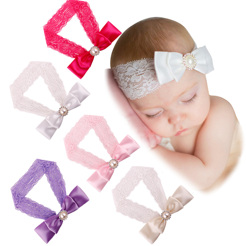 Top Sale! Kids Girls Baby Toddler Cute Bowknot Headband White Pink Purple Beige Hot Pink Hair Band Headwear with lace bow #JD61