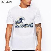 the great wave t shirt men wave Japanese print tshirt camisetas hombre funny harajuku shirt  tumblr tops tee t-shirt men цена и фото