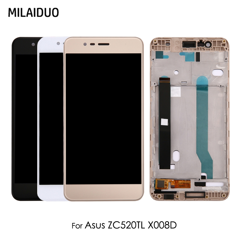 LCD <font><b>Display</b></font> For <font><b>Asus</b></font> <font><b>Zenfone</b></font> <font><b>3</b></font> <font><b>Max</b></font> <font><b>ZC520TL</b></font> X008D Glass Touch Screen Digitizer Assembly Black White Gold with Frame 5.2'' image