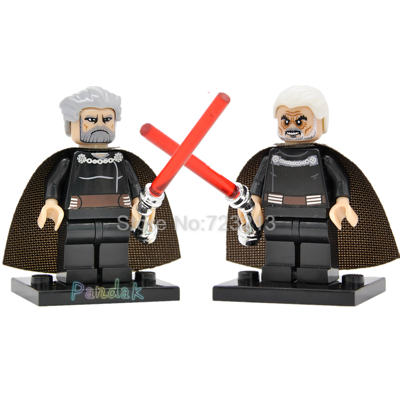 Star Wars Count Dooku Figure Single Sale Building Blocks with Chrome Lightsaber Starwars Sets Models Toys For Children sw472 single sale band figure john winston lennon paul mccartney george harrison ringo starr building blocks models toys