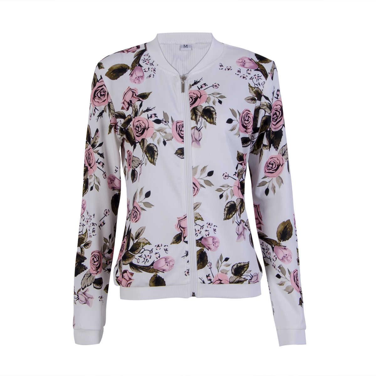 Куртки 2018 новый бренд с длинным рукавом пикантные женские цветочным принтом в стиле ретро на молнии Курточка бомбер Повседневное пальто