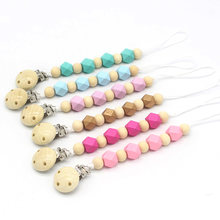 Baby Pacifier Clip Chain Wooden Bead Dummy Clip Holder Candy Cute Pacifier Clips Soother Chains Baby Teething Toy for Baby Chew(China)
