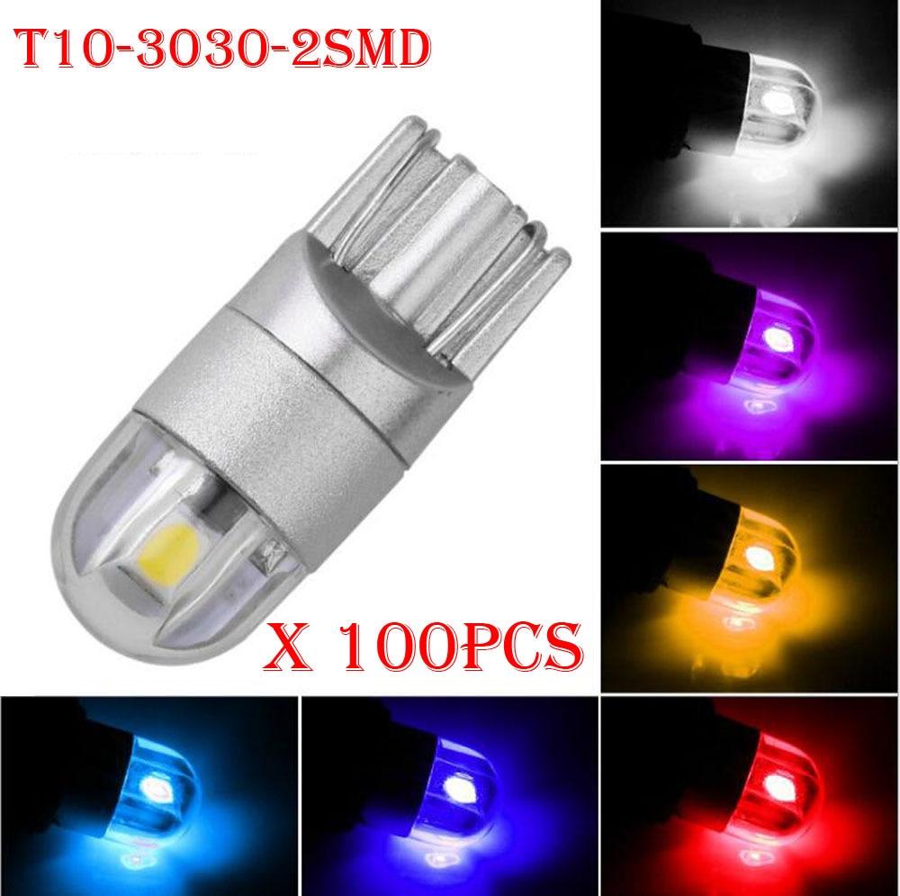 100PCS styling automobilu T10 3030 2SMD LED žárovky W5W 194 168 auto automobilové lampa otočná boční poznávací značka parkovací mlha světlá kontrolka 12 / 24V