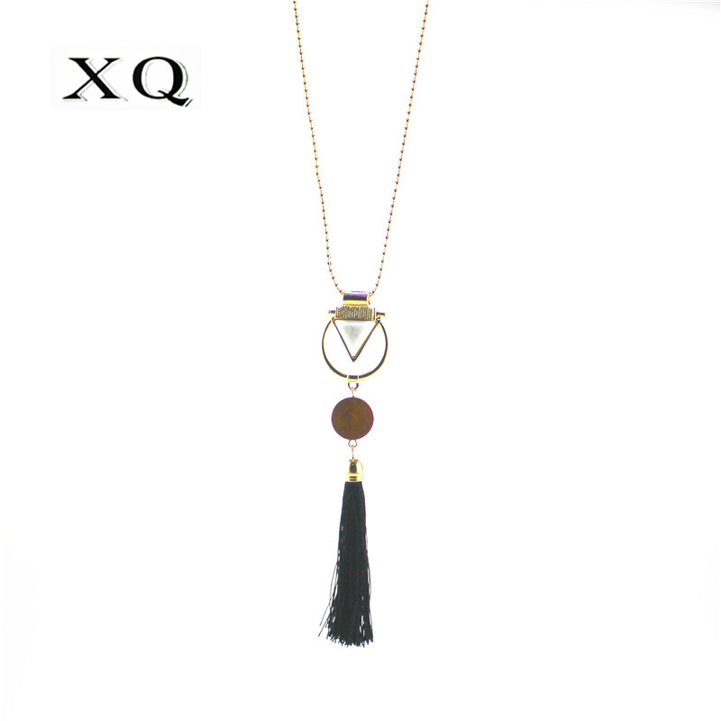 XQ retro wood white resin triangle black rope tassel pendant long bead necklace for women ladies fashion jewelry New