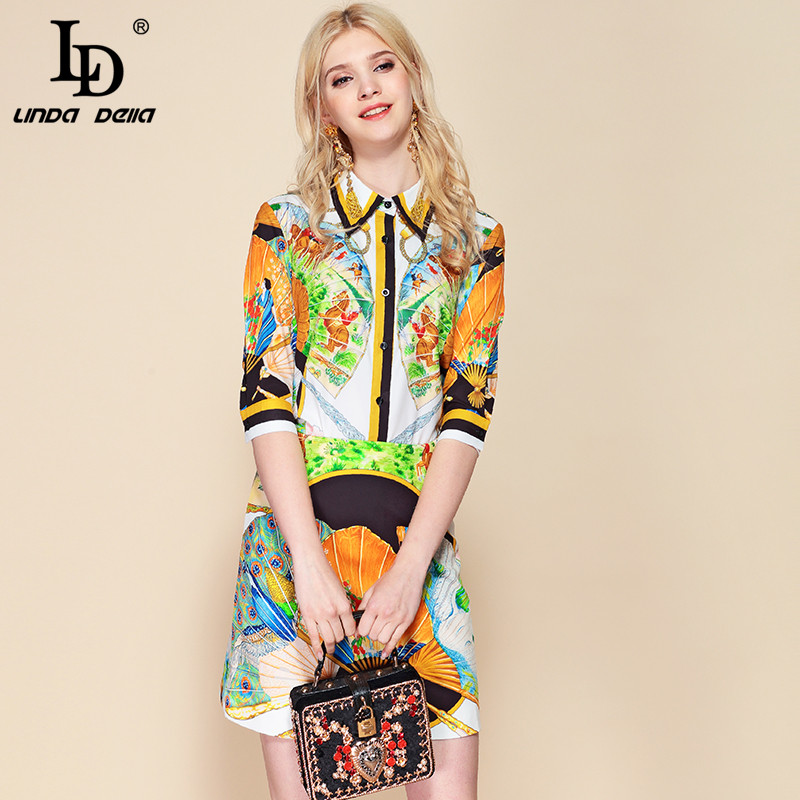 LD LINDA DELLA Summer Fashion Designer 2 Two Pieces Set Women s Short Sleeve Printed Blouses