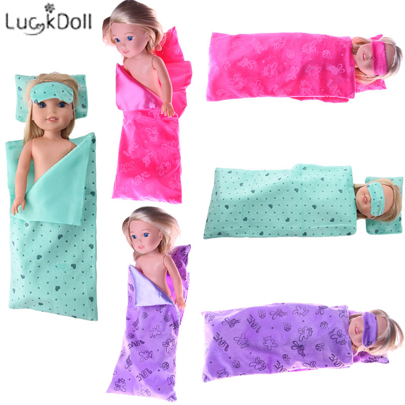 Luckdoll Sleeping 3Pcs=Sleeping Bag + Pillow + Eye Mask Fit 14.5 Inch Wellie Wisher Doll Accessories,Child's Toys,Birthday Gift