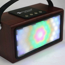 The new Portable Bluetooth Audio BT99L Wooden colorful lights Portable Speaker Wireless Handsfree FM Audio System Outdoor Music