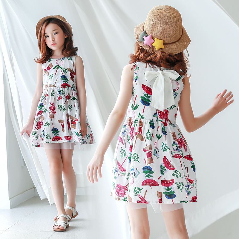 2018 New Baby Summer Dress Girls Floral Dress Bow Kids Sundress Toddler Cute Dress Children Princess Dress,2534 db4368 davebella spring new girls cotton floral dress princess dress children boutique dress sakura dress