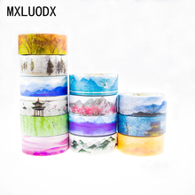 Colored Washi Tape Set Decor Boxed Sticky Masking Paper Tapes DIY Office Stationery Scrapbooking Decorative Adhesive Tape 1PCS
