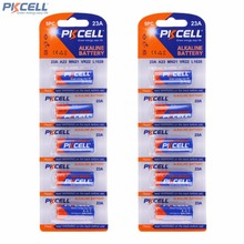 10Pcs PKCELL 12V Alkaline Dry Batteries Primary 23A A23 MN21 12 Volt Bateria For Garage Door Opener / Remote Control / Doorbell