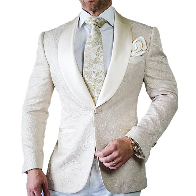 Handsome Cream Mens Suits 2017 Dinner Party Prom Tuxedos Groomsmen ...