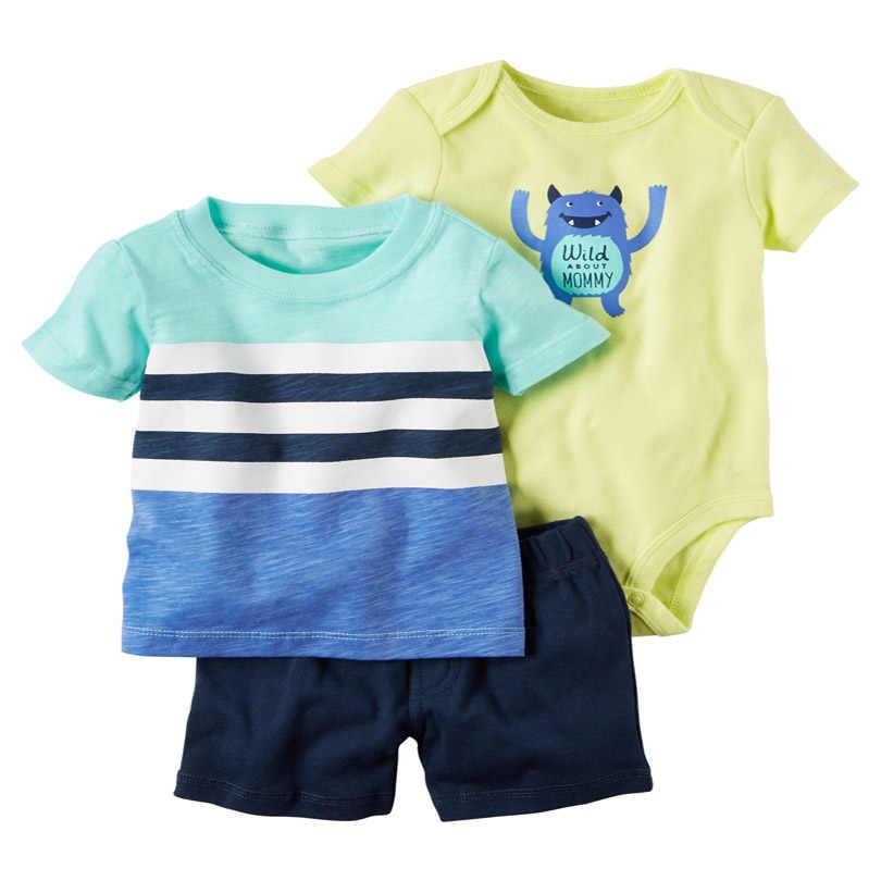Zomer Baby Boy Meisje Kleding Set Pasgeboren Kleding O-hals Cartoon Dinosaurus T-shirt + Shorts + Romper Baby Outfits Pasgeboren kostuum