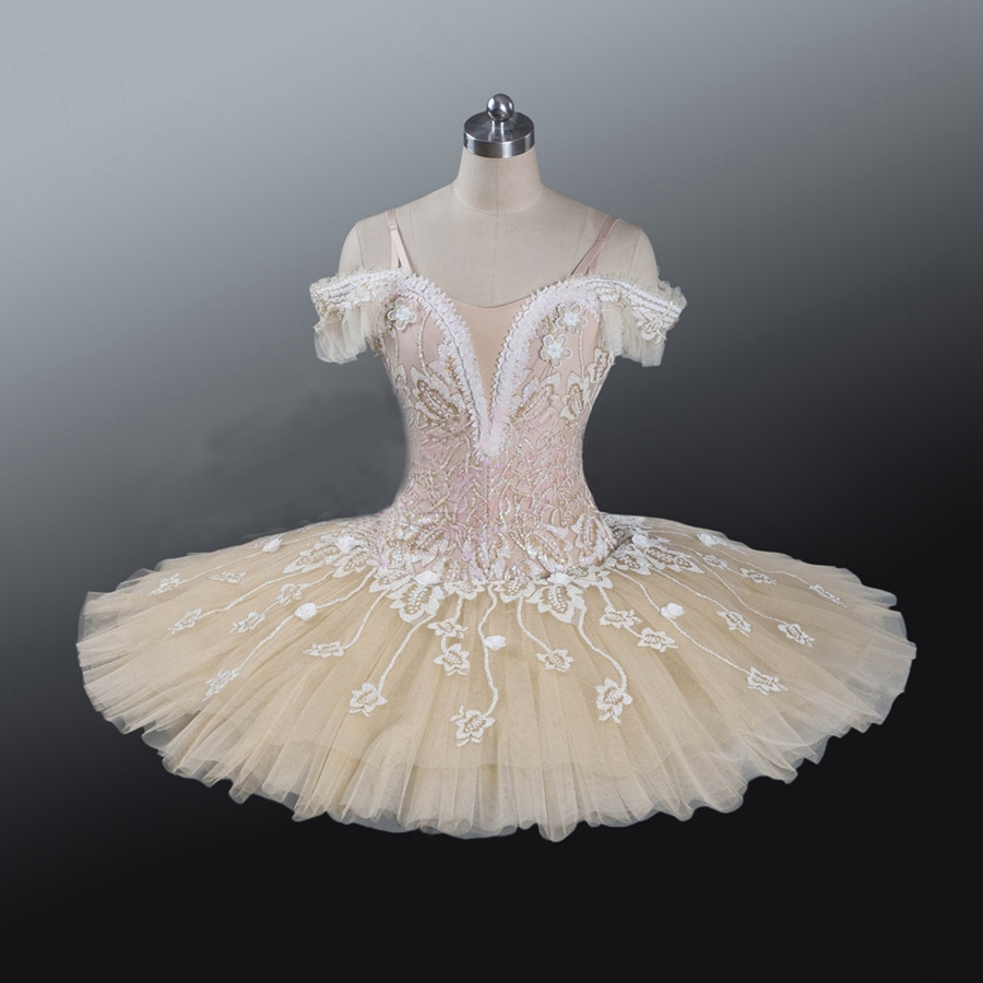 Adult  Professional Ballet Tutu  Beige Cream Girls Peformance Tutu Puffy Flower Fairy Doll Classical Ballet Stage Costume