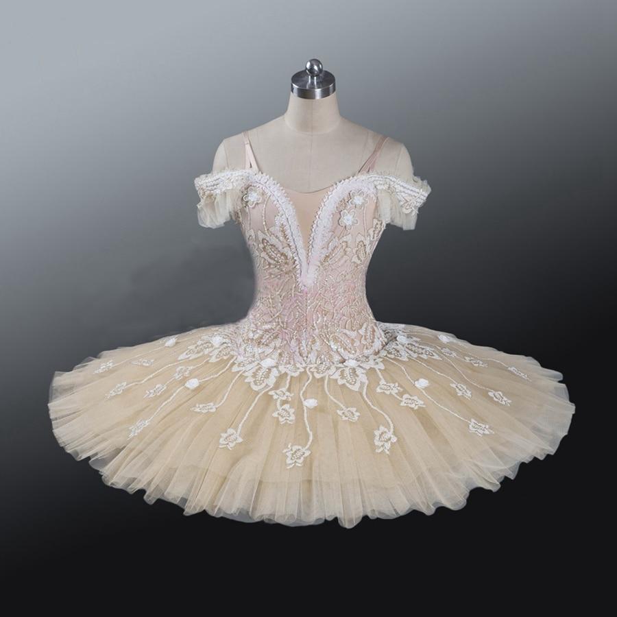 Adult  Professional Ballet Tutu  Beige Cream Girls Peformance Tutu Puffy Flower Fairy Doll Classical Ballet Stage Costume