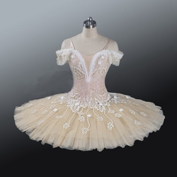 Volwassen Professionele Ballet Tutu Beige Crème Meisjes Peformance Tutu Puffy Bloem Fee Pop Klassieke Ballet Toneelkostuum