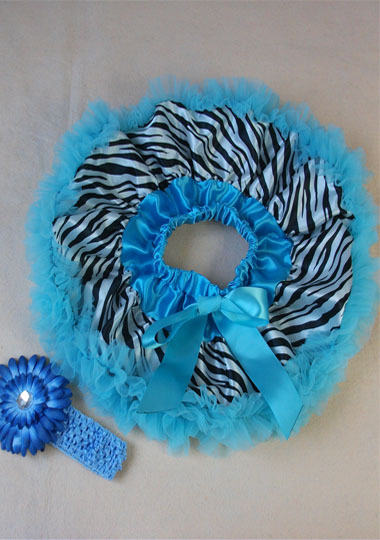 Юбка-пачка для малышей пышная детская юбка-американка с принтом зебры головная повязка для новорожденных с ромашками в цветочек комплект для малышей подарок на день рождения - Цвет: Небесно-голубой