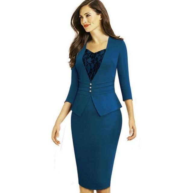 1a20735140 H 2018 Społecznej Biuro Sukienka Jesień Wrap Dress Makaron Niebieski Midi  Suknia 3