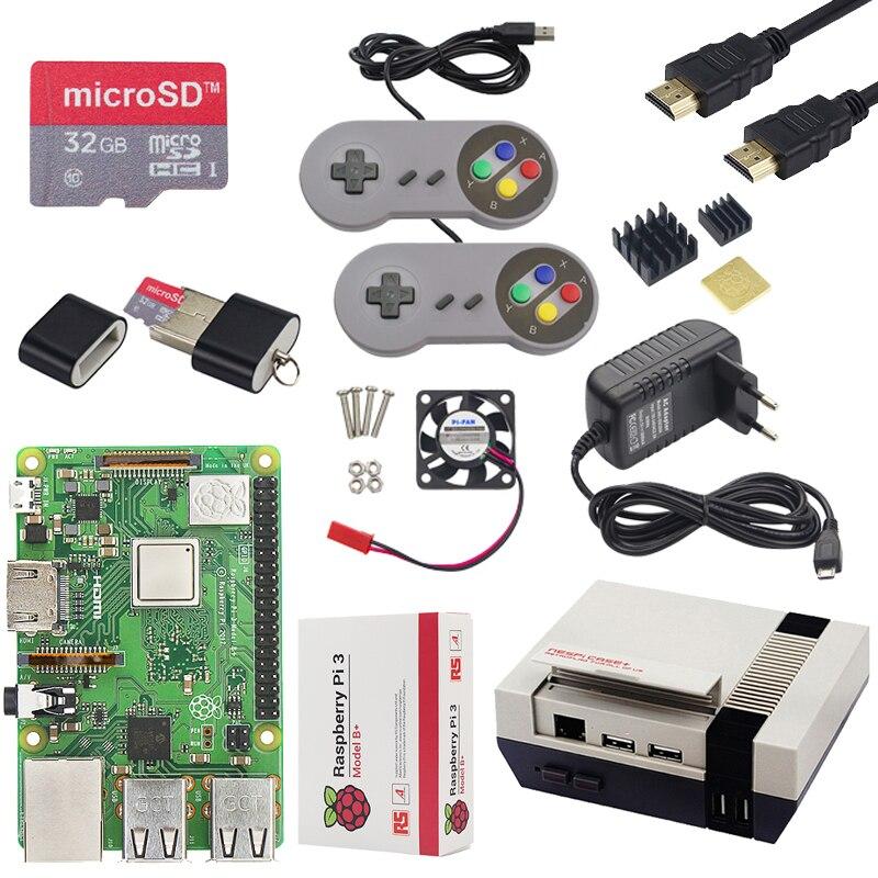 Raspberry Pi 3 modèle B + (B Plus) kit de jeu + puissance + carte SD 32G + câble HDMI + dissipateur de chaleur + dernier boîtier NESPi + pour Retropie Pi 3B + kit